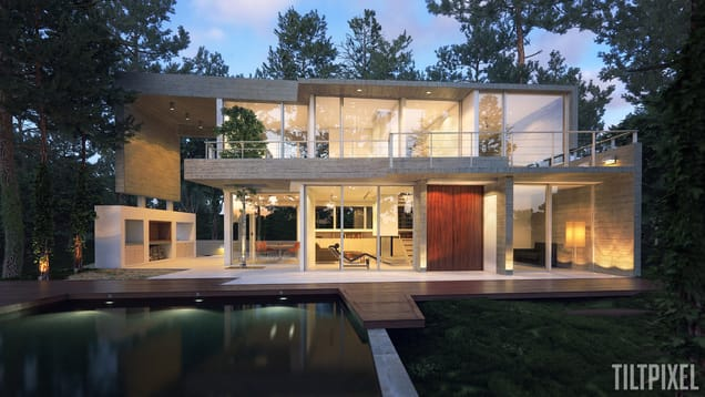 Tiltpixel house exterior architecture vray sketchup