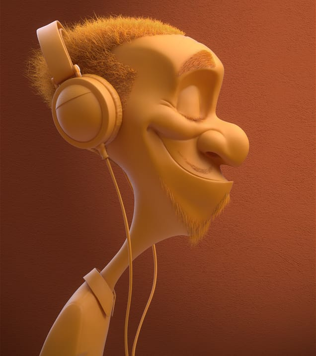 Kevin beckers headphone dude art vray 3ds max