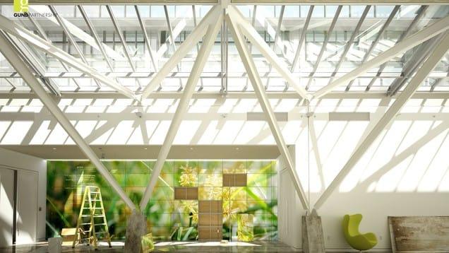 Gund partnership atrium architecture vray rhino