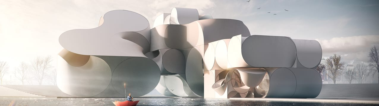 Flying architecture circus architecture vray rhino 01