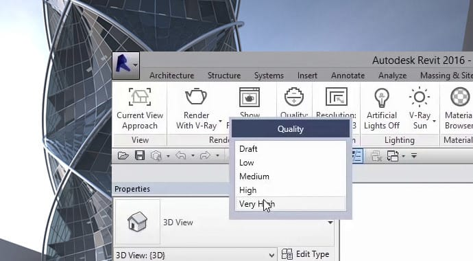 Imagem da Interface do VRAY para Revit