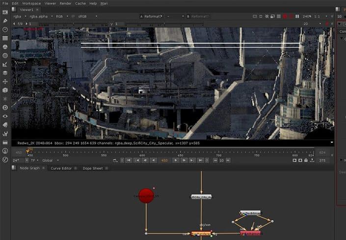 Shahin toosi sci fi city rendering vray nuke