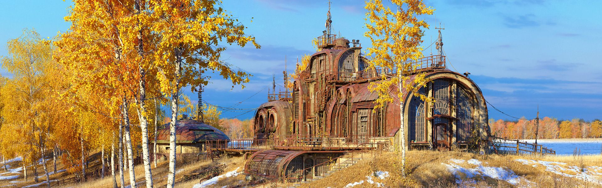 Marek denko autumn relay outpost 17 art vray 3ds max 1920x600px roadshow