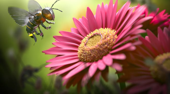 V-Ray for 3ds Max Fully Interactive Production Rendering Bee Over Flower