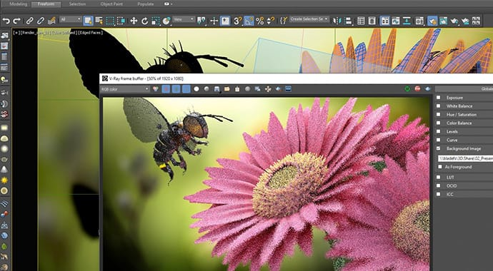 V-Ray for 3ds Max Interactive Production Rendering Bee Over Flower