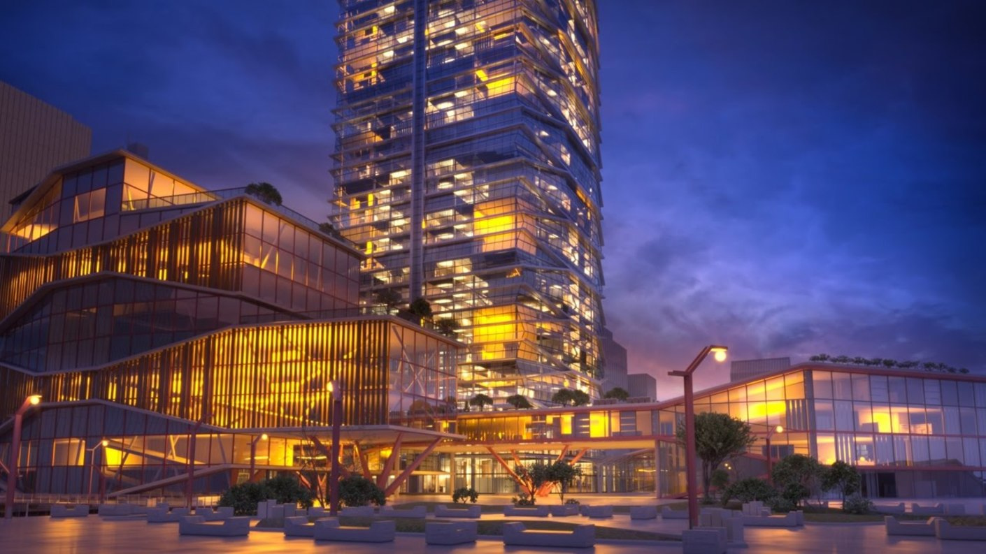 V-Ray rendered business building with adapative lights