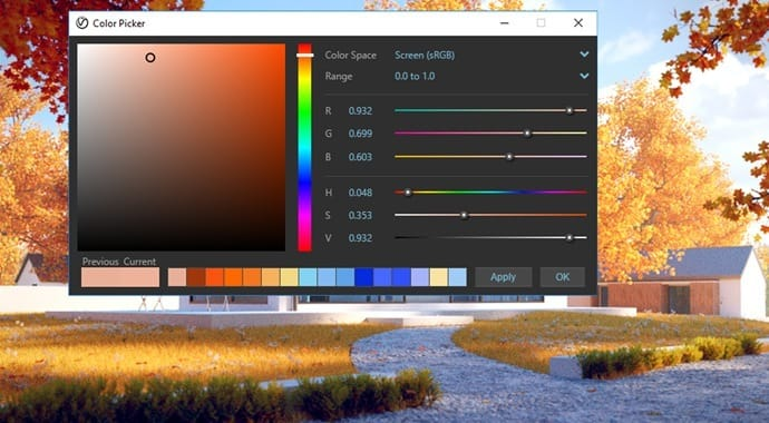 v-ray colour picker
