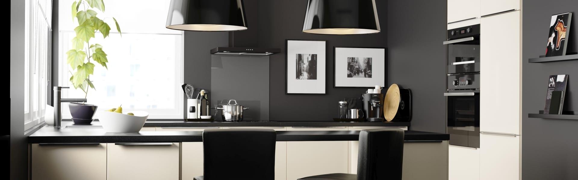 A minimalist black-and-white kitchen