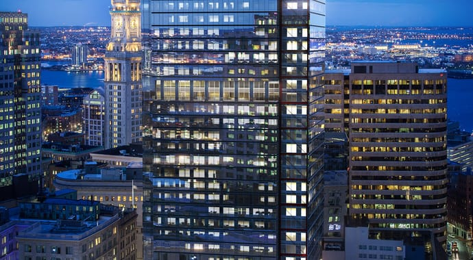 One Post Office Square is a 41-story tower in Boston's Financial District rendered by TILTPIXEL