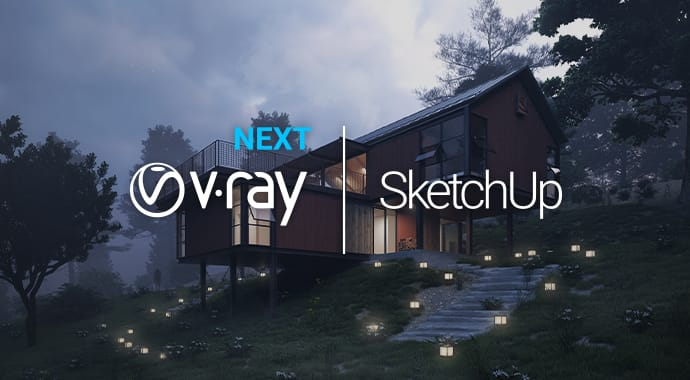 V-Ray Next for SketchUp product banner with logo