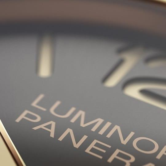 Close-up of a Lumnior Panerai watch