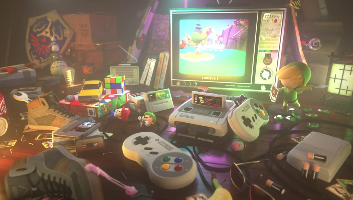 A CG image of a SNES console and a retro Sony TV
