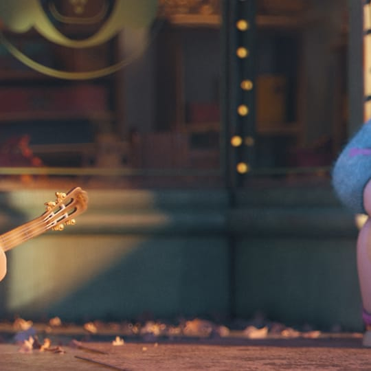 Ron Artist II as 3D character in music video playing guitar for red-headed fan on colorful city street rendered with V-Ray