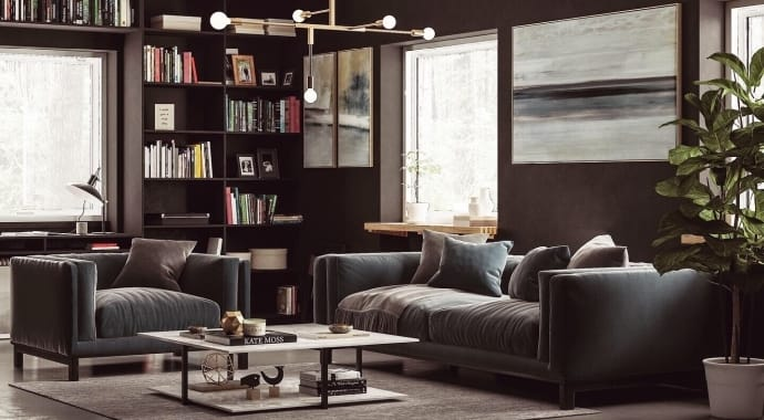 A living room bookcase, coffee table and gray sofa