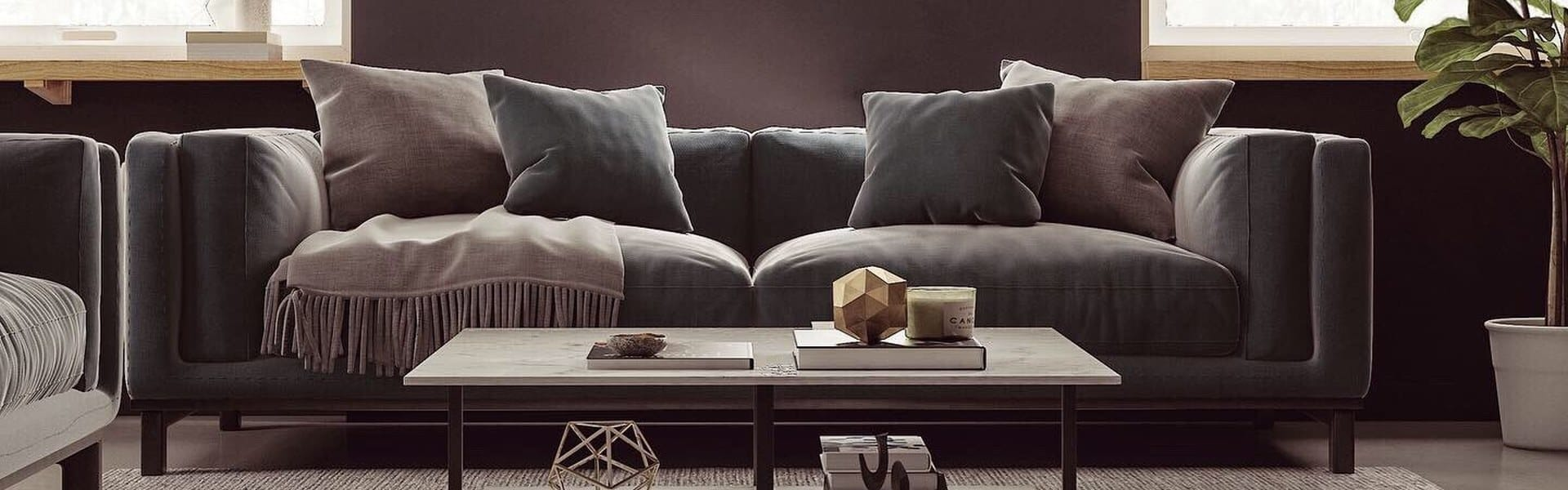 A gray sofa and coffee table