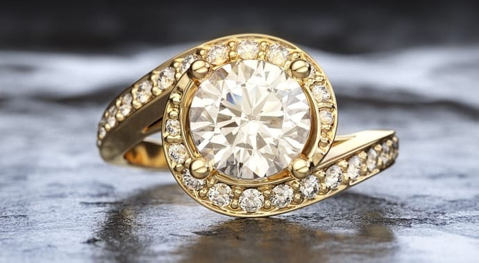 A gold-diamond engagement ring
