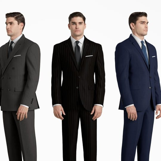 A series of images of a man wearing different suits from different angles