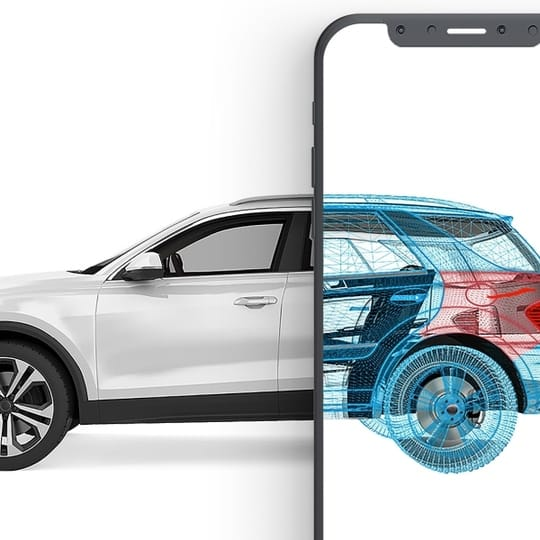 A white car x-rayed by an iPhone
