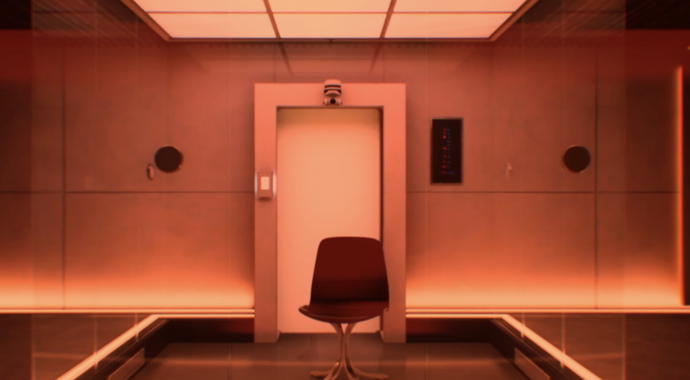 A chair in a red-lit room