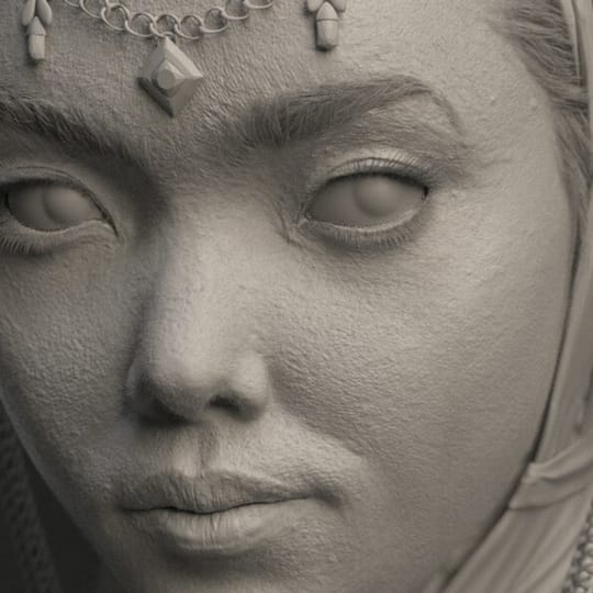 Untextured clay render of 3D female character model