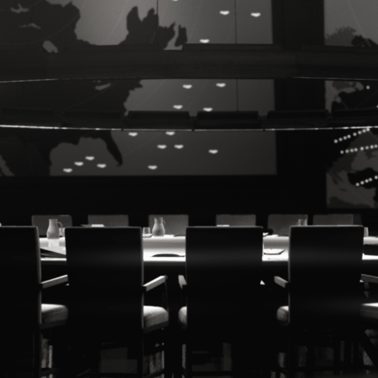 A black and white CG shot of the war room from Dr. Strangelove