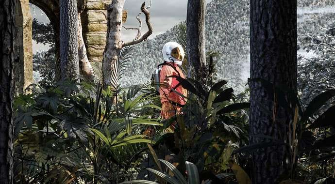 A spaceman in an orange suit among plants, trees and ruins