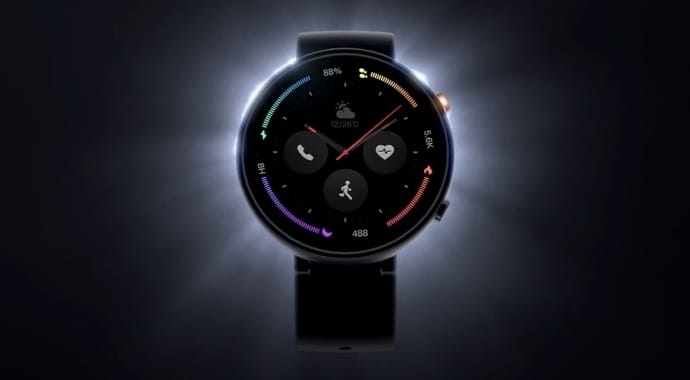The face of an Amazfit Verge 2 smartwatch