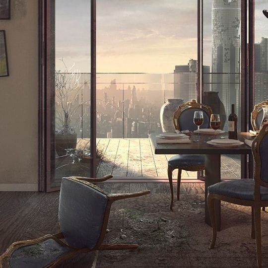 An apartment with a city view