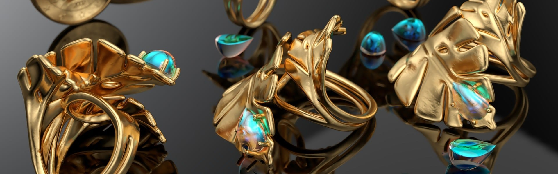 A CG image of gold and opal rings