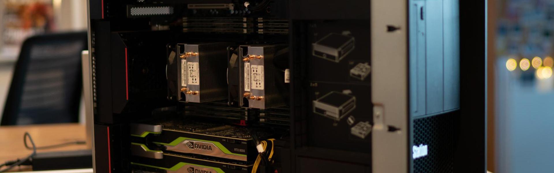 NVIDIA graphics cards inside a Lenovo Thinkstation computer