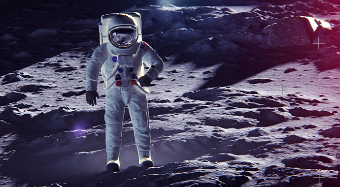 3D astronaut on the moon created in Cinema 4D for BBC Studios 50-year Moon Landing promotion animation and rendered with V-Ray