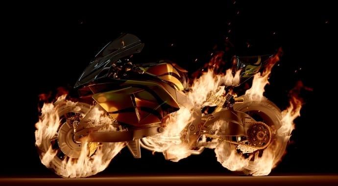 A superbike on fire