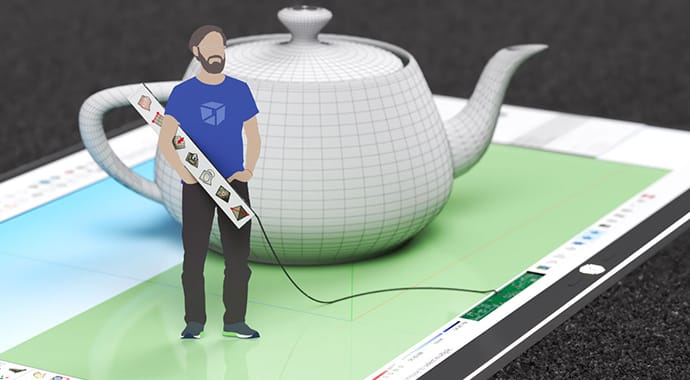 V-Ray for SketchUp teapot wireframe render on a tablet by Moshe Shemesh