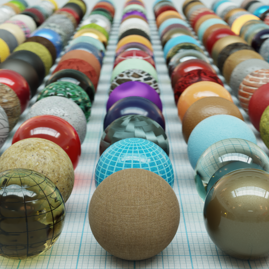 3D spheres showing the various material options available in V-Ray 5