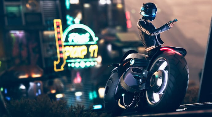 Rider with phone next to futuristic motorbike