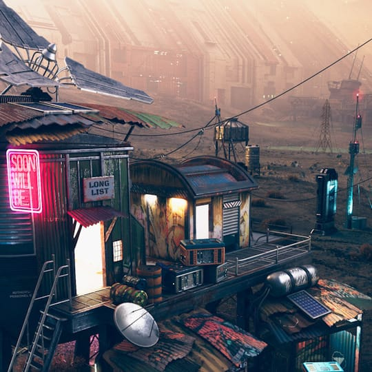 Dystopian city with neon signs and pylons