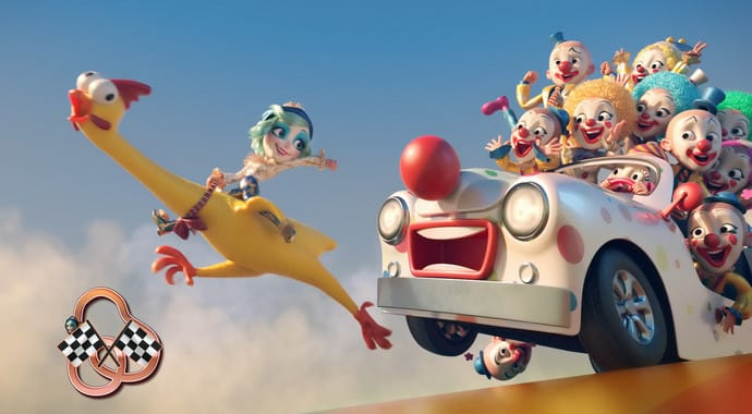 A cartoon woman on a yellow rubber chicken ahead of a clown car with many laughing clowns