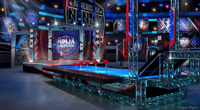 A render of an American Ninja Warrior obstacle