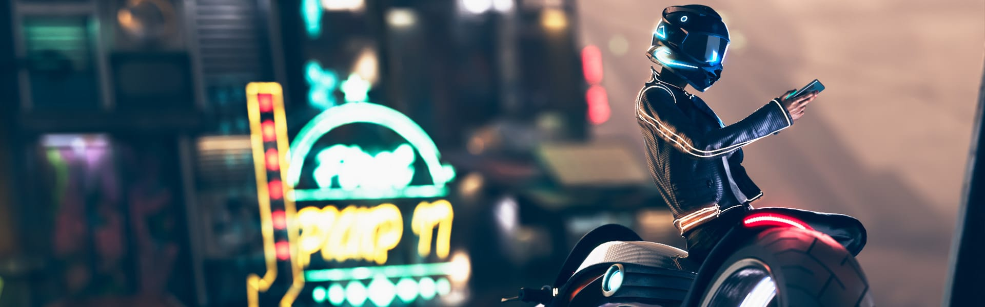 A rider leans against a motorcycle in a futuristic city