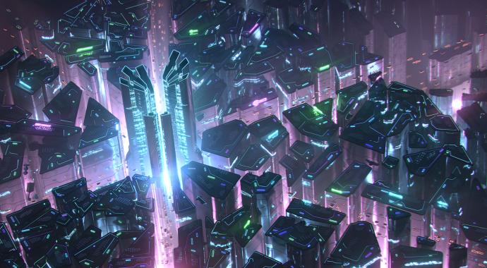 A purple-and-blue neon-lit cyberpunk city