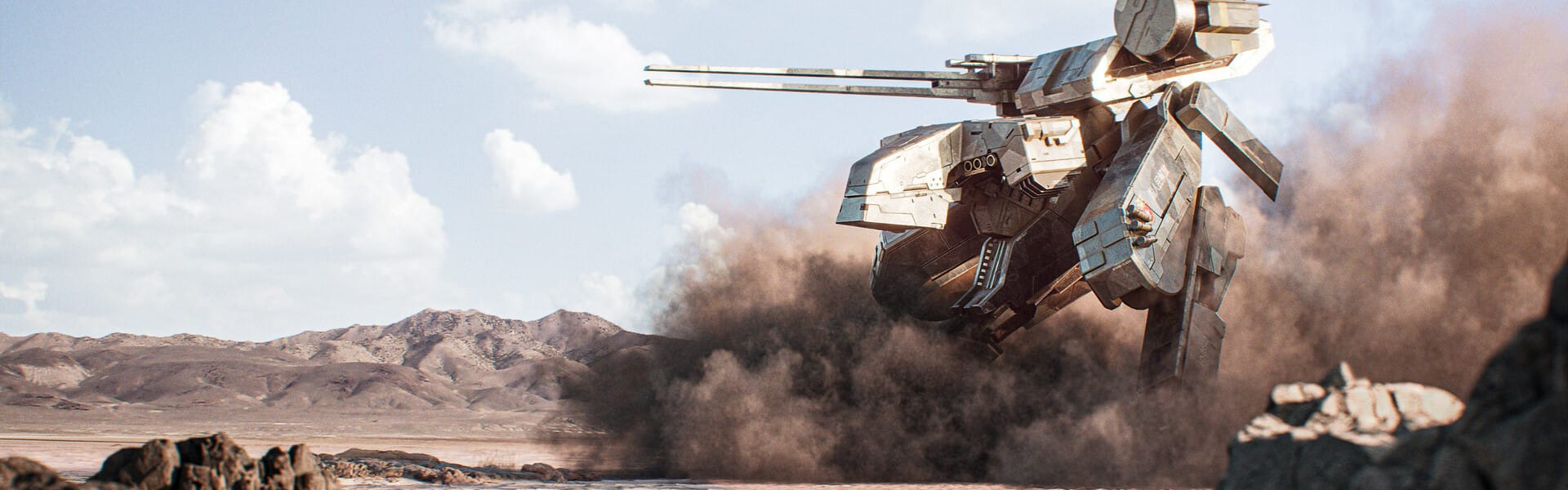 A big mech churns up dust in the desert