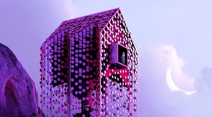 A pink-and-purple house covered in discs next to a crescent moon