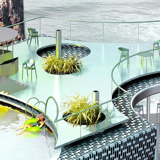 A glass-and-metal swimming pool and decking with swimmers and plants