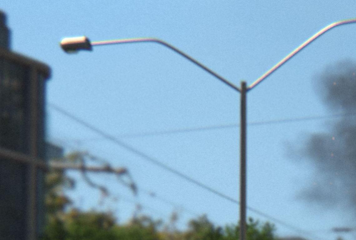 a streetlight with chromatic aberration