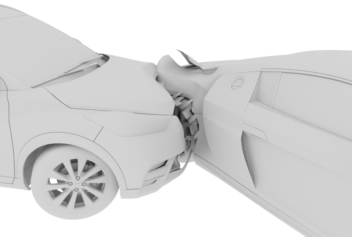 A clay model of a car collision