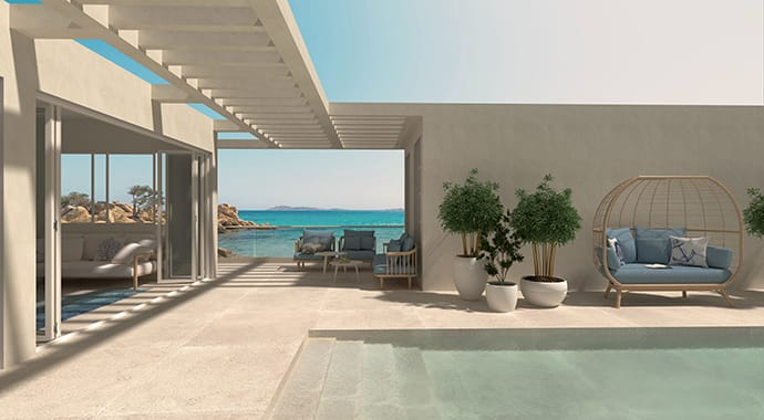 A Sardinian villa with swimming pool, a sea view and plants